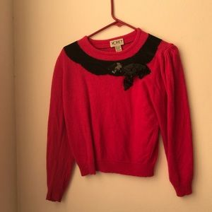 Sweaters - Vintage hot pink sweater with sequin rose